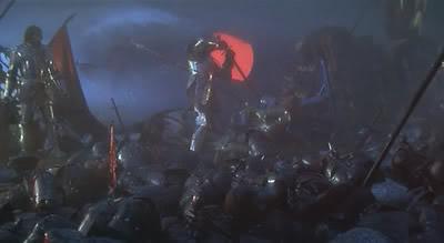 Arturo, herido de muerte, da muerte a Mordred